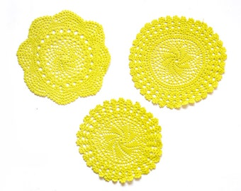 3 Lime green hand dyed Crochet Doilies Vintage doilies