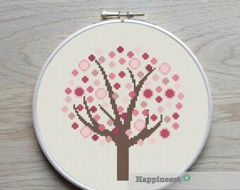 cross stitch pattern tree spring, PDF pattern ** instant download**