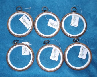 "Set of 6 Stitch Garden 3"" Round Wood Grain Flexi hoops - can be used as embroidery hoop and frame"
