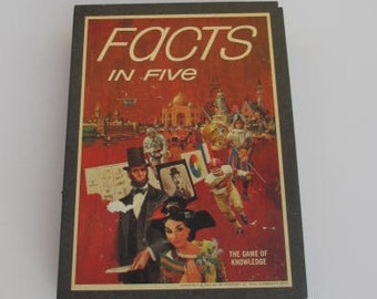 Facts in Five The Game of Knowledge 2 1/2 lb Vintage Board Game Vintage Bookshelf Game 3M Bookshelf Game Romper Room Game Group Bonding Game