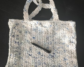 Up-cycled Plarn Tote Bag, Recycled Grocery Bags, Crochet Plastic Yarn