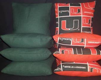 Set Of 8 University of Miami Cornhole Bean Bags Top Quality FREE SHIPPING