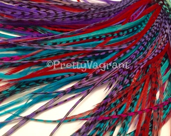 Long Hair Accessories Pink Red Purple Turquoise Feather Extensions Long Plumes Hair Feathers Grizzly Striped, Solid, Variants, 8pcs