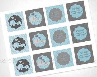Loving Elephants Cupcake Toppers - Blue - DIY Printable - INSTANT DOWNLOAD