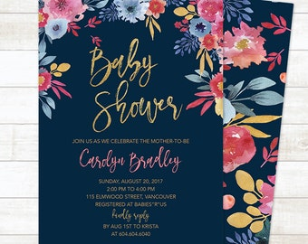 Summer Baby Shower Invitation, Floral Baby Shower Invitation, Watercolor Baby Shower Invite, Summer Baby Shower Printable Invite