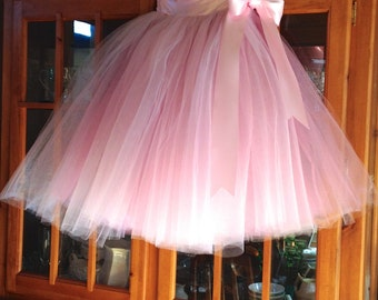 Dusty rose and pink Flower Girl tulle skirt tutu. Also shown pink and mint tutu or your color choice.