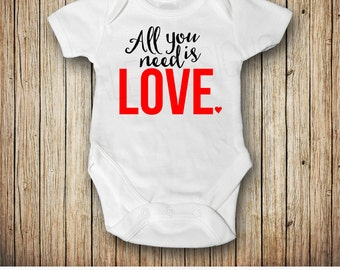 Valentines Day Onesie® | Baby Girl Valentines Day Outfit | Baby Boy Valentine's Day | My First Valentines Day | All You Need is Love