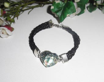 Black multi strand leather bracelet with abalone heart