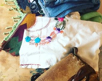 70s Bohemian Blouse, Mexican Cotton Gauze, Embroidered Shirt, White Cotton, Hippie BOHO Shirt, Bohemian, 70s Blouse, Peasant Shirt, Festival