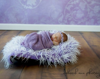 SET Frosted Purple Mongolian Fur Lavender Stretch Knit Wrap Newborn Photography