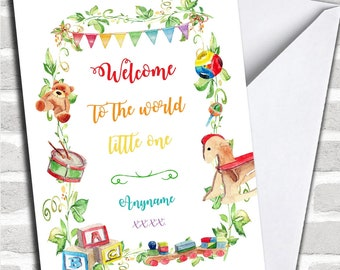 Personalised Welcome To The World Classic New Baby Card