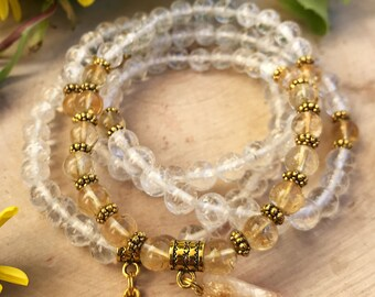 CLEAR QUARTZ & CITRINE Mala Beads | 108 Mala Necklace for Meditation, Yoga, Prayer Beads | Raw Citrine Pendant | Citrine Mala Solar Plexus