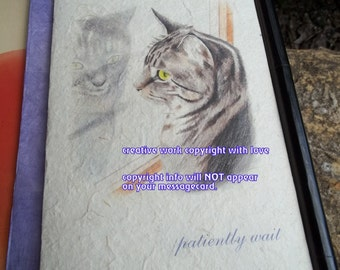 patiently wait/ gray tabby /love my tabby/ personalize / storybook/sentimental /unique empathy condolence /pet sympathy/pet cards pet poem