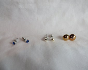 Three Pair Earrings - Copper, Silver, and Blue, Earrings, Copper, Silver, Blue