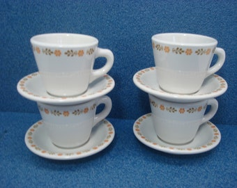 Vintage Shenango China Restaurant Ware Cup & Saucer (4 Sets) Floral Pattern New Castle PA Interpace