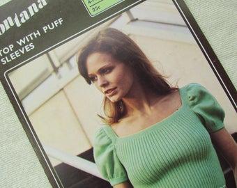 Woman's Puff Sleeve Top, Sizes 32 to 36 Inch - Fontana Knitting Pattern 1425