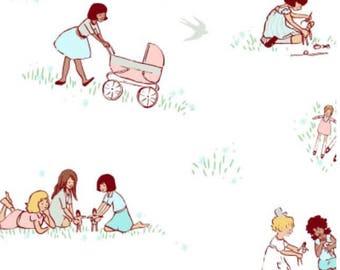 Sarah  Jane for Michael Miller fabric Dolls Spring BTHY White Background Whimsical Images Little Girls Dolls Strollers