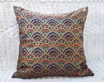 Boho Pillows, Moroccan Pillows, 18x18, Bohemian Pillow Covers, Purple Throw Pillows, Couch Cushions, Gold, Teal, Purple Pillows, Sofa Pillow
