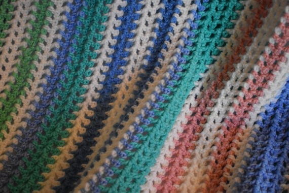 Pastel Stripe Crochet Throw Blanket Featuring Teals, Blues, Spring Green, Baby Pink, & Soft white