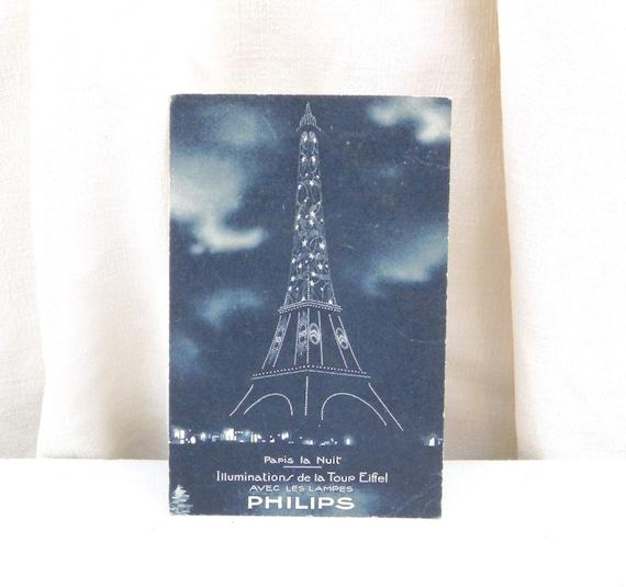 Antique Art Deco French Unused Black and White Postcard, Illuminated Eiffel Tower Philips Publicity / Parisian Souvenir Retro Vintage Home