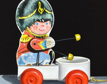 Original Painting - Music Man by Kim Testone - Acrylic Still Life Photorealism Contemporary Realism Vintage Toy Toys Watercolor Art