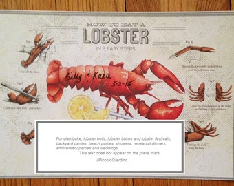 Wedding, personalized How to Eat Lobster paper placemats,  clambakes, lobster bake beach parties 24 ct