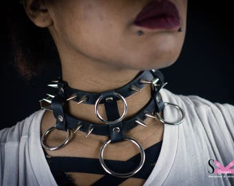 Caden spiked collar leather