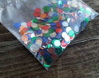 Red, Orange, Silver, Blue, Green Metallic Confetti Circles Sequins - Boy's Birthday Party Decorations - Left overs
