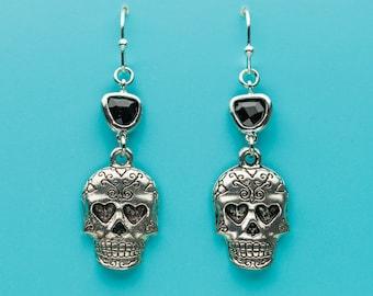 Sugar Skull Earrings, Skull with Heart Earrings, Black Crystal Earrings, Day of the Dead, Dangle Earrings, Gifts for Her, 326