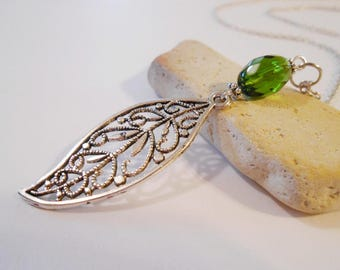 Green Glass Long Leaf Pendant Silver Filigree Leaf Necklace Minimalist Jewelry Gift for Nature Lovers August Birthday Gift Bolivian Jewelry