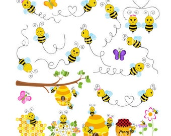 80% OFF SALE Flying bumble bees clip art, bees vector graphic, commercial use clipart, Flying bees clipart, Flying honey bee, Honey hive GR3