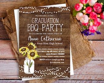sunflower graduation party invitation, BBQ party sunflower invite, string light invites, rustic sunflower printable invite, class of 2017