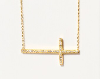 Cross Necklace, With the Perfect Amount of Cubic Zirconia Sparkle • Very Elegant But Can Also be Used for a Casual Look