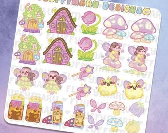 Fairy Deco Sticker Set    Planner Stickers, Cute Stickers for Erin Condren (ECLP), Filofax, Kikki K, Etc.    DS08