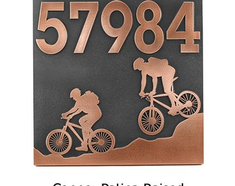 "Mountain Bike Address Plaque, Bicycle Address Sign, Bike House Plaque, 12"" square Made in USA"