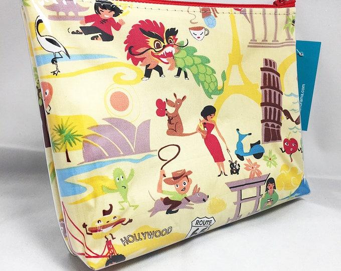 Make Up Bag - World Traveler Zipper Pouch