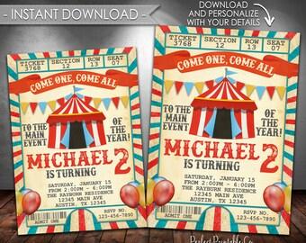 Vintage Carnival Invitation, Carnival Birthday Invitation, Circus Invitation, Circus Birthday Invitation, Instant Download, Editable #553