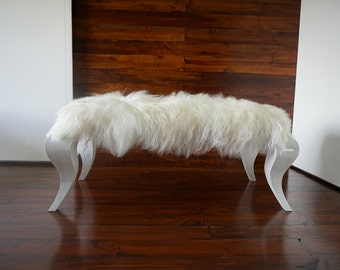 Ottoman style bench on white Oak wood leg - Upholstered with Extra long wool white mix Icelandic sheepskin - Design Furniture by MILABERT