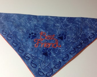 Best Friend, Dog bandana, pet bandana, embroidered bandana