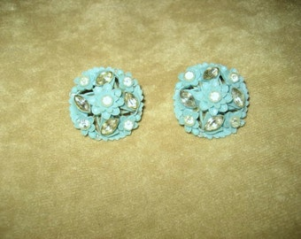Rhinestone Celluloid Clip Earrings Blue Vintage