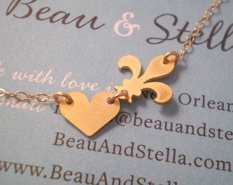 NOLA Love - Fleur de Lis and Heart Necklace -  14k Gold Filled or Sterling Silver