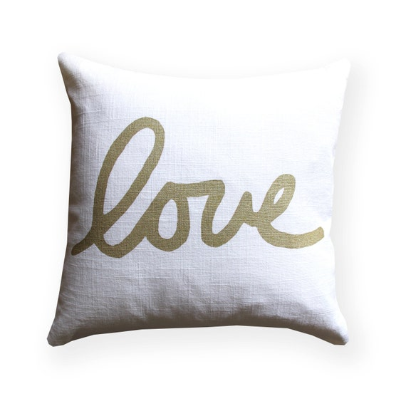 Decorative Pillows White And Gold : Metallic Gold and White Love Throw Pillow Square Love Pillow