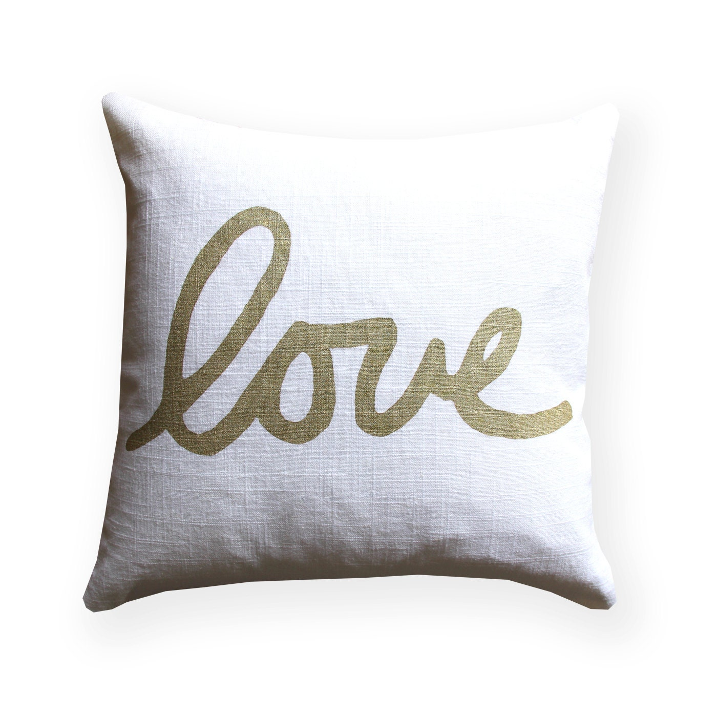 Metallic Gold and White Love Throw Pillow Square Love Pillow