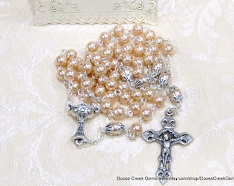 Girl's Catholic First Communion Rosary with Chalice Prayer Card