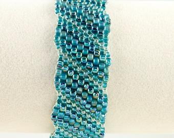 Teal Peyote Stitch Cuff Bracelet/Seed Bead Bracelet/Beaded Bracelet/Beaded Cuff