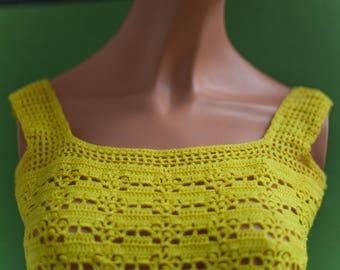 Knit mesh sleeveless yellow T36 (en) XS - vintage