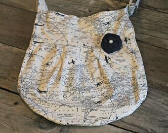 Handbag, Navy Map Cross Body Purse, Crossbody Bag, Cross body Purse, Hobo Purse, Pleated Purse, Crossbody Purse, Travel Map Purse