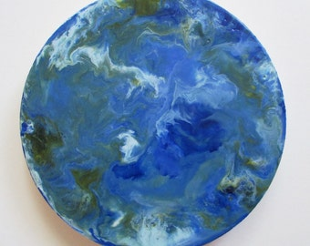 Encaustic abstract art, earth from above painting, blue marble, earth painting, blue earth, circle art, encaustic art