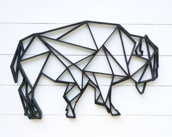 "Geometric Bison wall hanging   20"" x 13"" geometric woodland buffalo bison animal wall decor   buffalo art"