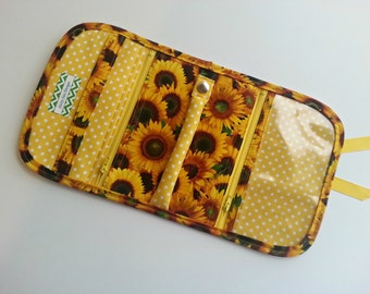 Travel Jewelry Organizer Pouch quilted in bright Sunflower print